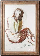 Constantin Chatov, Seated Woman Sketch, Signed