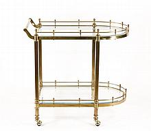 Hollywood Regency Bar Cart with Glass Galleries