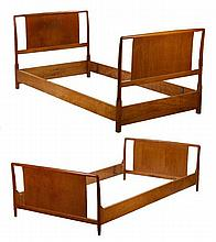 Pair of MCM Walnut Twin Bed Head & Footboards