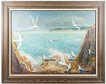 Signed Ben Shute, Coastal View with Seagulls