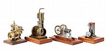 Group of 4 Steam Engines Models On Wood Bases
