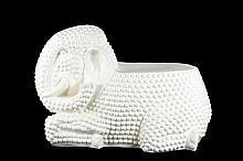 Modern White Ceramic Nubbed Elephant Stand