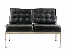 Barcelona Style Black Vinyl and Steel Loveseat