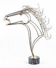 Curtis Jere Brass Horse Bust, Modernist Sculpture