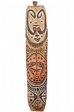 Songye Polychromed Carved Wood Tribal Shield