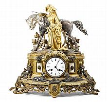 French Gilt Bronze Equestrienne Mantel Clock, Marc