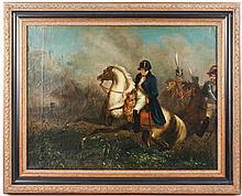 19th C. Continental School Oil, Napoleon