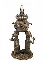 19th C. Large Persian Bronze Censer w/ Monkeys