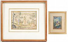 Group of 2 Framed Indian Figural Paintings