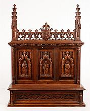 Continental 19th C. Gothic Style Carved Oak Shelf