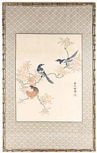 Chinese Silk Embroidery Textile w/Birds & Prunus