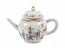 Chinese Export Mandarin Porcelain Teapot 18th C