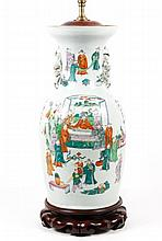 19th C. Chinese Famille Rose Vase Lamp