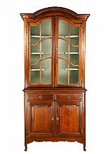 French 19th C. Oak Breakfront Display Cabinet