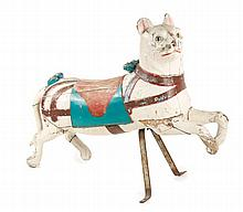 19th C. French Carved Wood Carousel Cat