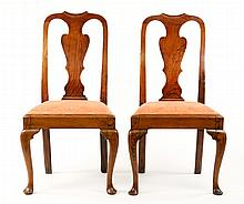 Pair of Early Georgian Elm Side Chairs, 18th C.