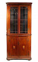 English Mahogany Inlaid Corner Cabinet