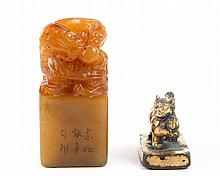 Group of 2 Chinese Seals, Jade & Bronze
