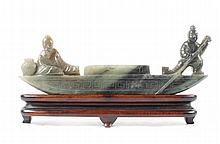 Chinese Carved Spinach Jade Boat with Figures