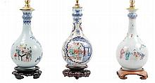 Three 19th/20th C. Chinese Bottle Form Lamps