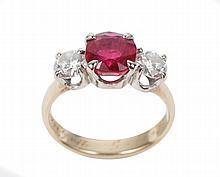Ladies 14k Gold, Ruby & Diamond Ring