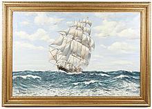 20th C. American Maritime Oil, Signed R. Bramley