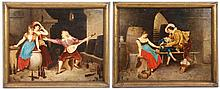 P. Karly, Pair of 19th C. Figural Interior Oils