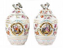 Pair of Large KPM Porcelain Jars w/ Bird Finials