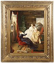 19th C. Belgian Oil Genre Scene,