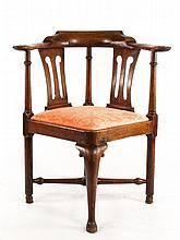 18th C. English Walnut Corner Chair