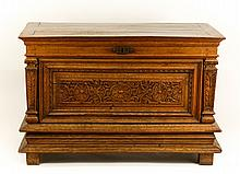 19th C. Continental Carved Oak Blanket Chest