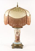 19th/ 20th C. Hand Painted Lamp w/ Beauty, Signed