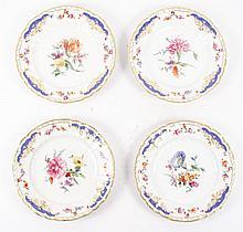 Set of 4 KPM Porcelain Cabinet Plates, Decor #64