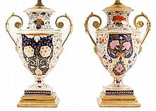 Pair of 19th C. English Derby Porcelain Urn Lamps