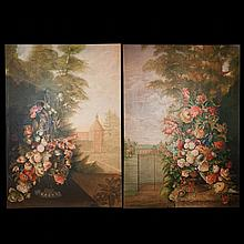 Large Pair Of Scenic Paintings
