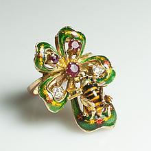 Gold & Enamel & Diamond & Rubie Bee Ring