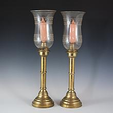 Russian Brass & Crystal Candle Holders