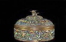 Chinese Bronze Enamel Circular Box