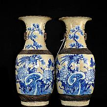 Pair Of Chinese Porcelain Floral Vases