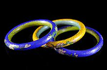 Lot Of Three Cloisonne Bracelets