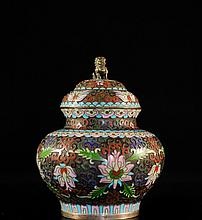 Antique Chinese Cloisonne Enameled Urn