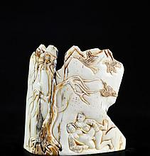 Hand Carved Chinese Erotic Ivory Plaque