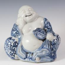 Antique Chinese Blue & White Porcelain Buddha