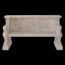 Hand Carved Carrera Marble Bench
