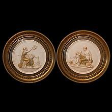 Pair of Framed Porcelain Figural Plaques