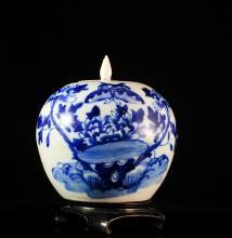 Antique Chinese Blue & White Porcelain Urn
