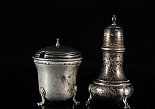 Antique Sterling Silver open Salt and Pepper Shakers