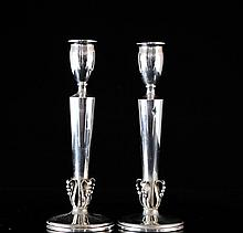 Antique Sterling Silver Candle Holders