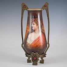 German Porcelain & Bronze Vase