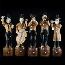 Hand Carved Wood & Ivory Band Sculptures